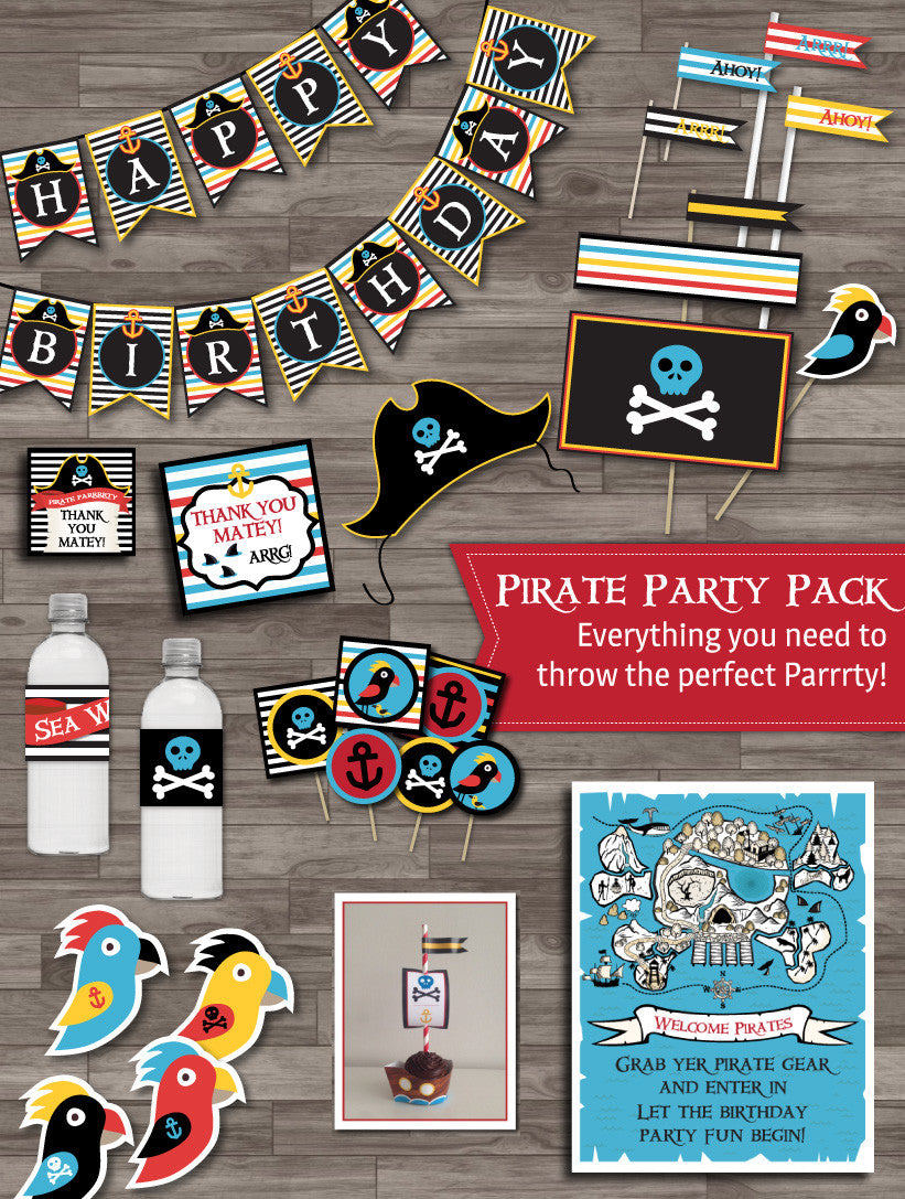 Pirate party printable decor pack
