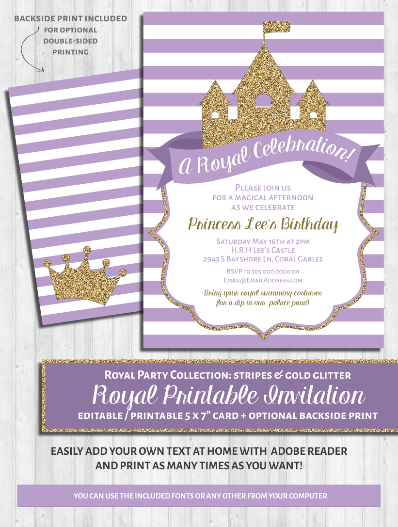 Princess party invitations purple gold glitter printable