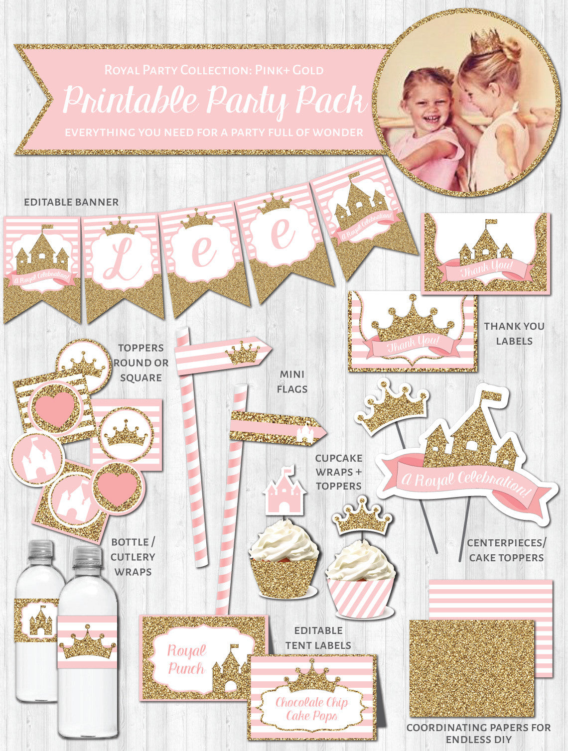 Princess Party Decor: Pink & Gold Glitter