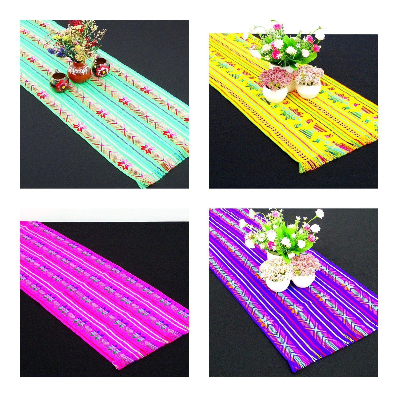 "4 Pack Mexican table runners 14x72"" Assorted Colors"