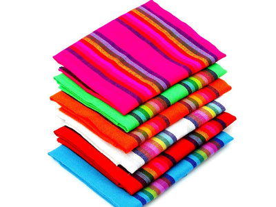 6 Full yards of Mexican Striped Fabrics - Assorted Colors