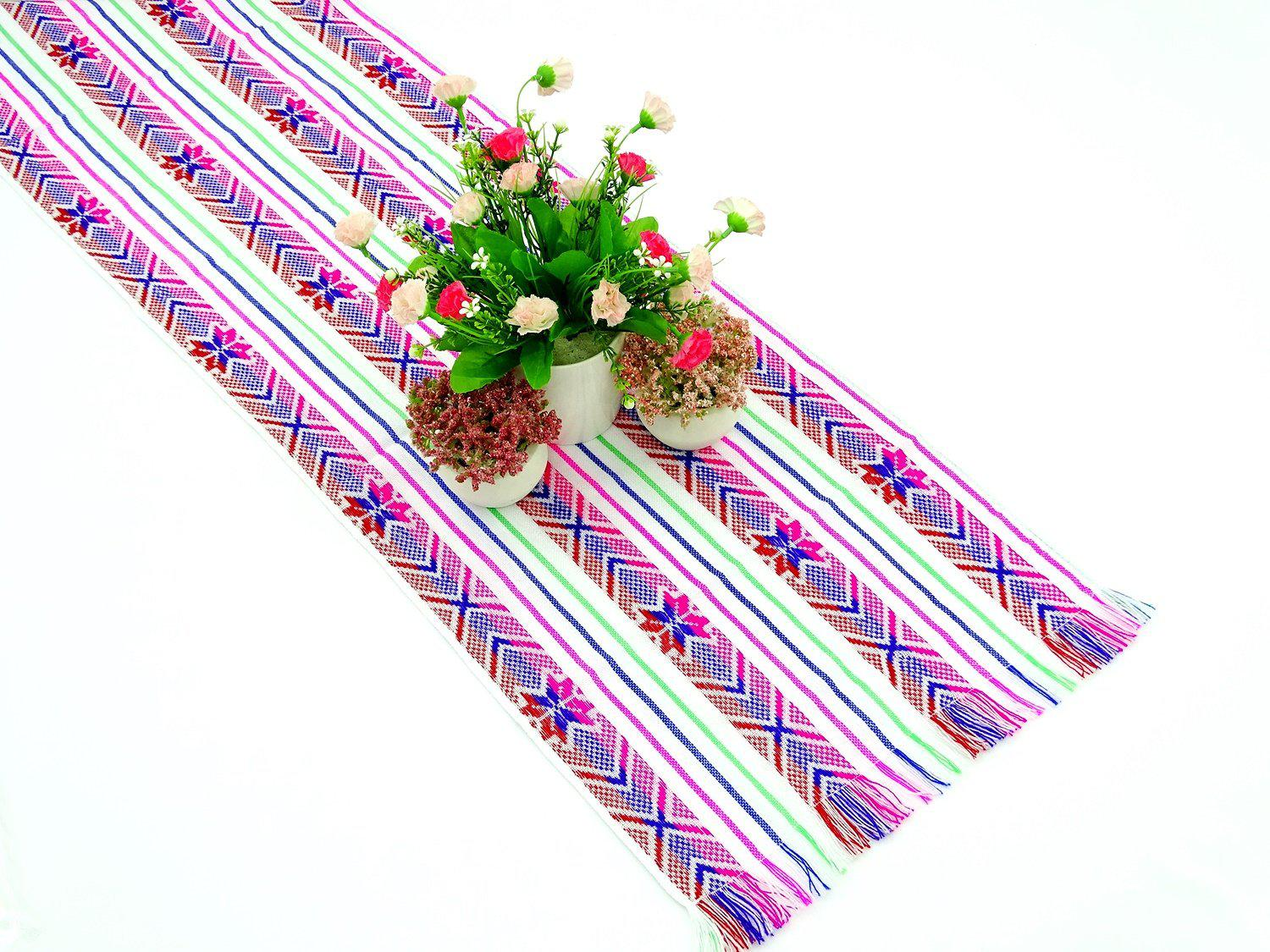 "White Mexican Fabric Table runner 14x72"" 14X72TRC734"