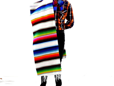 Zarape Mexican Blanket, 59X83Inches in White Blanket-1