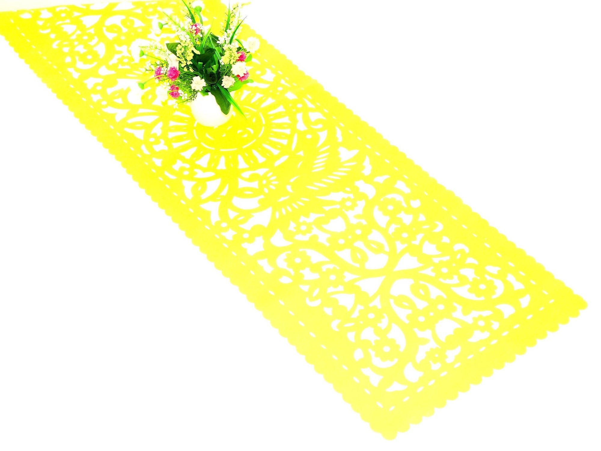Papel picado table runner, Yellow synthetic fabric, Mexican fiesta decorations, party supplies, FTR4