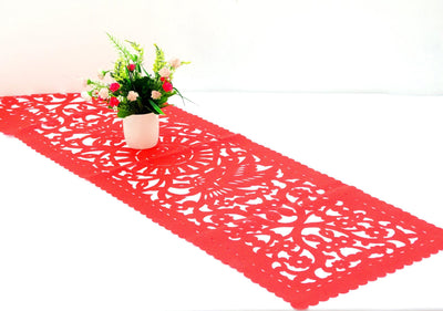 Mexican papel picado table runner, Red synthetic fabric, fiesta party decorations, Cinco de Mayo decorations, bohemian folk design, FTR5
