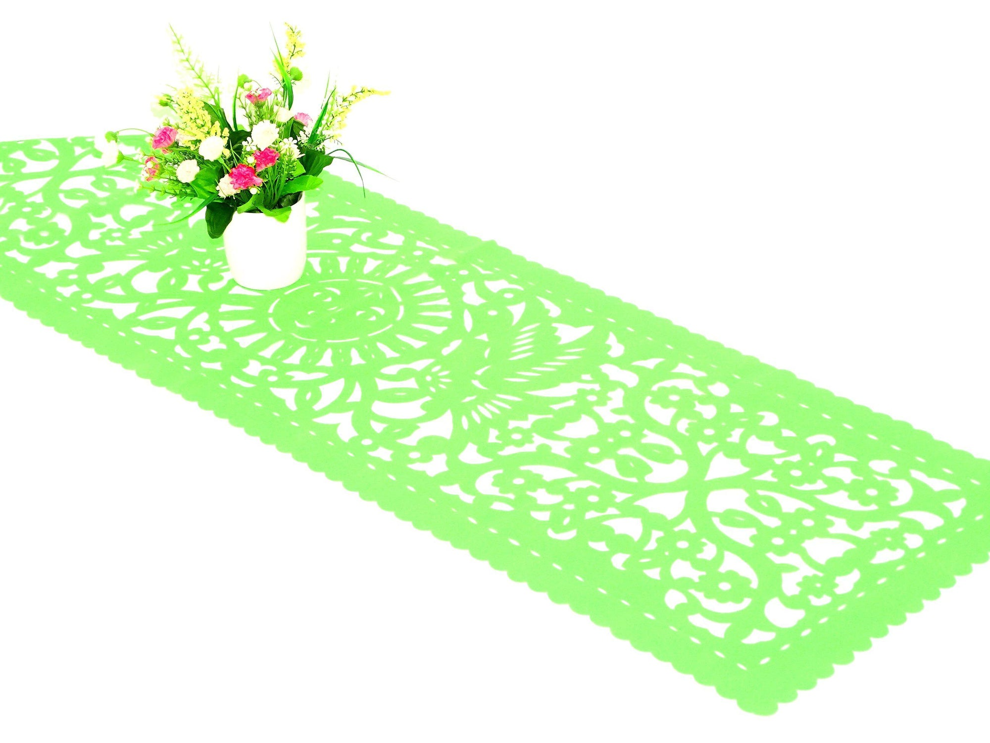 Mexican fiesta supplies, Papel picado table runner, Lime Green synthetic fabric, Fiesta party decoration, Cinco de Mayo party, lace design, FTR2