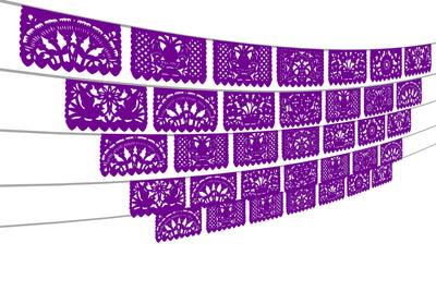 5 PK, Papel Picado, Purple Mexican Fiesta Decorations, Over 60 feet long, WS2010
