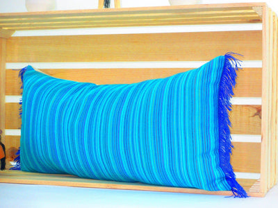 Mexican Pillow Cover - Turquoise Blue Lumbar Pillow, 14x28 Inches, Striped Pillow Shams, Sofa Pillow Cover, Colorful Throw Pillow Covers, Boho Pillow, PCC70