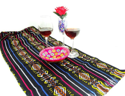 Mexican Table Runner - Fiesta Engagement Party, Taco Tuesday Decorations, Ethnic Fabric, Colorful Tribal Fabric, Bohemian Chic.