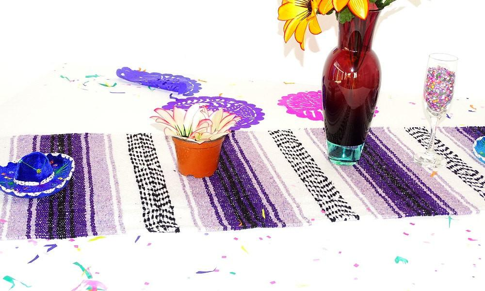 Mexican Table Runner - Mexican Dinner Party Decorations, Cinco De Mayo Party Decor, Mexico Table Runner Made From Mexican Blanket Material