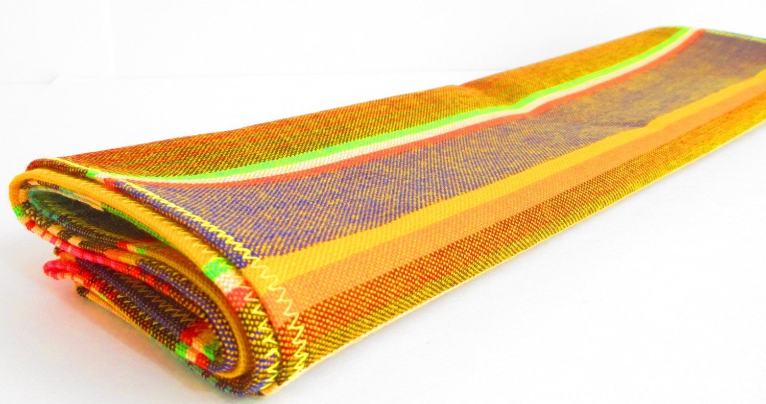 Mexican Table Runner - Yellow Mexican Table Runner, Authentic Serape Fabric From Mexico, Mexican Decorations Fiesta Party
