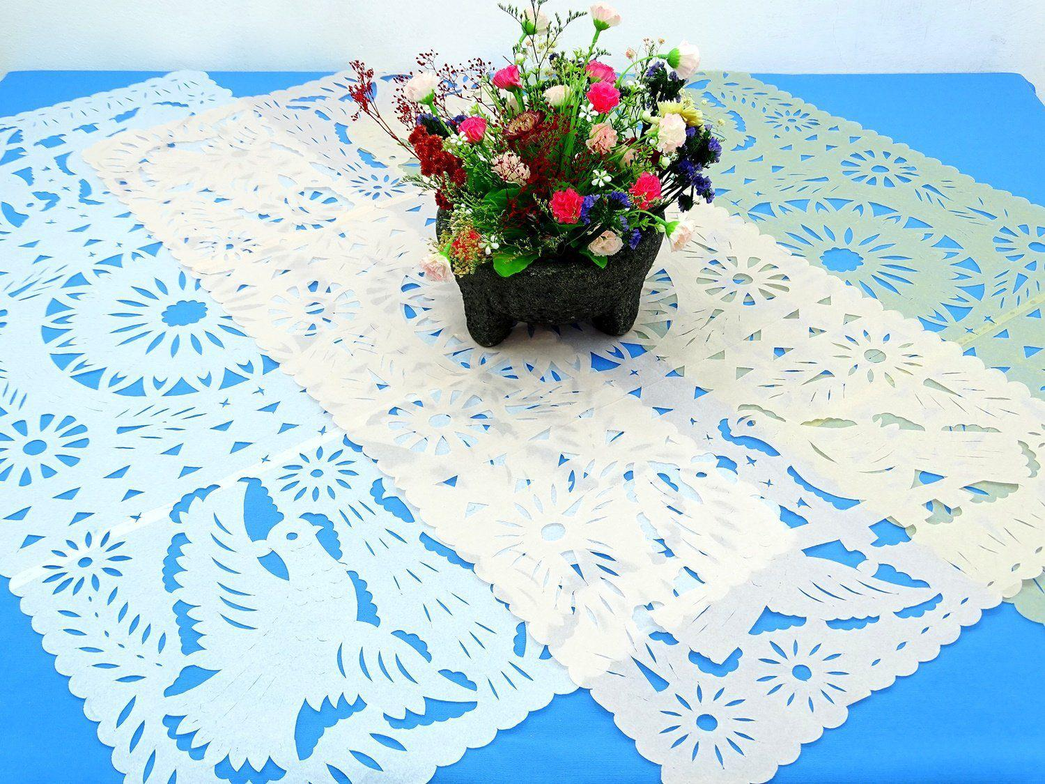Papel Picado - 3 Pack Of Papel Picado Mexican Table Runners, 20X39 Inches,
