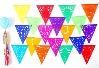Papel Picado Banners - Cinco De Mayo, 5 Pack Banners, Paper Mexican Banner 53 Ft Long, Aztec Home Decor, Paper Picado Garland, Fiesta Decoration Papel Picado, B810