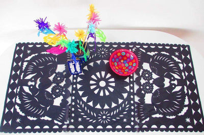 Papel Picado - Black Table Runner, Papel Picado, Fiesta Decoration, Bridal Shower Table Decor, Mexico Table Runner