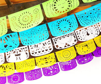 Papel Picado - Mexican Birthday Banner, 5 Pack Banners, Fiesta Baby Shower, Fiesta Decorations Garland, Mexican Party Supplies, 60 Feet Long, Fiesta Party Banner