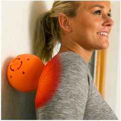 Moji Heated Large Massage Ball product in use - female rolling back