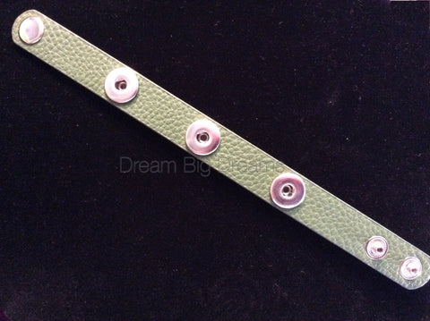 Forest Medium Green 12mm Three Chunk Real Leather Snap Bracelet