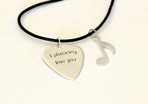I plucking love you sterling silver guitar pick necklace