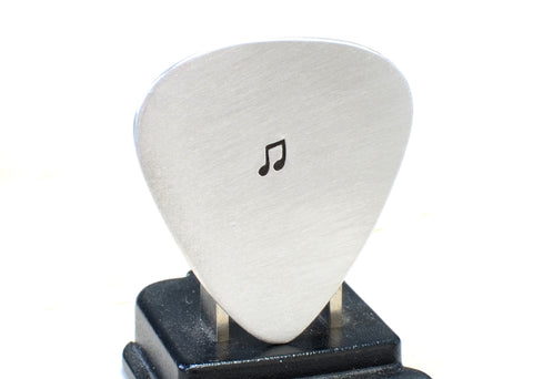 Aluminum Guitar Pick Handmade with Music Note