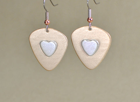 Guitar pick bronze earrings with sterling silver hearts