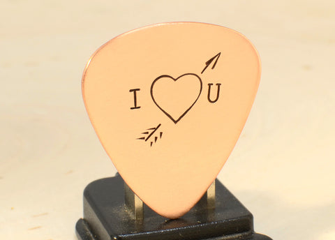 I love you copper guitar pick with arrow through the heart