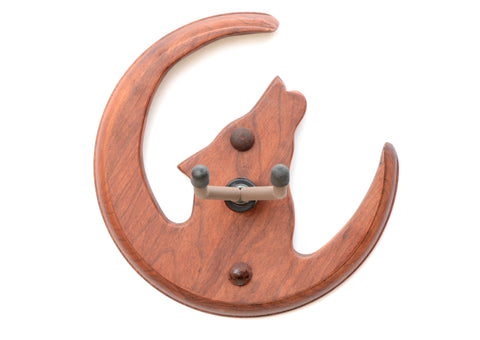 Guitar Hanger Handcrafted in Howling Coyote and Moon Theme from Hardwood