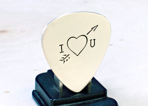 Sterling Silver Guitar Pick with Arrow Through the Heart for Love and Valentine's Day