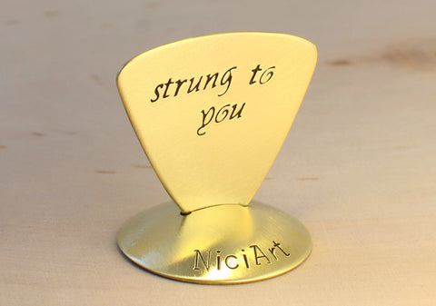 Strung to You Brass Triangular Guitar Pick