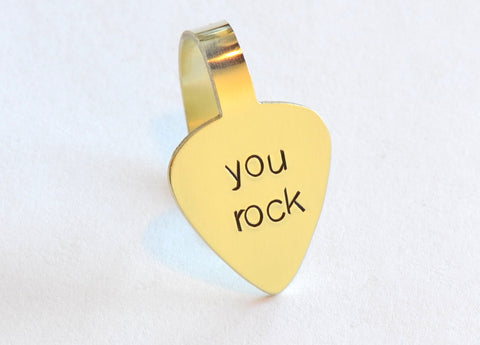 Pick Handstamped with You Rock in Brass – Custom Thumb and Finger Style Guitar Picks