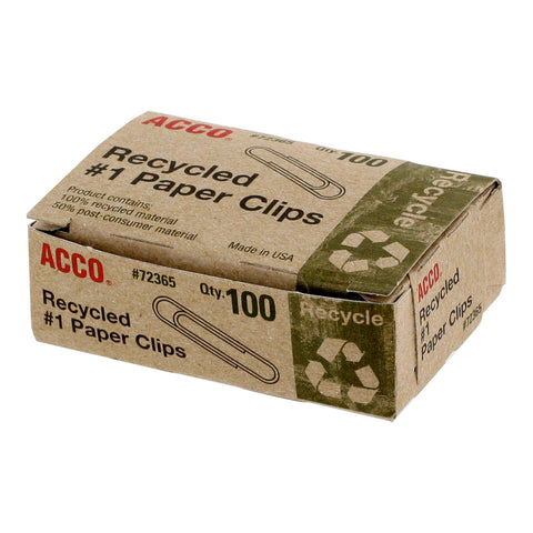 Acco Recycled Paper Clips, #1 Size, Box of 100 (72365)