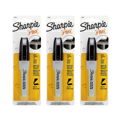 Sharpie Professional Permanent Marker, Chisel Tip, Black Ink, 1 Per Card Permanent Marker, Chisel Tip, Black Ink, 3-Count