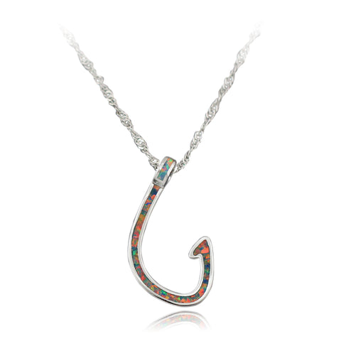 Awesome Opal Fishing Hook Pendant Necklace