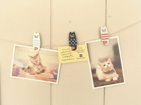 Cat Wooden Clips