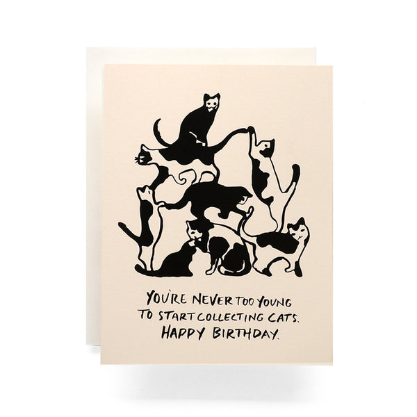 Cat Collecting Birthday Card