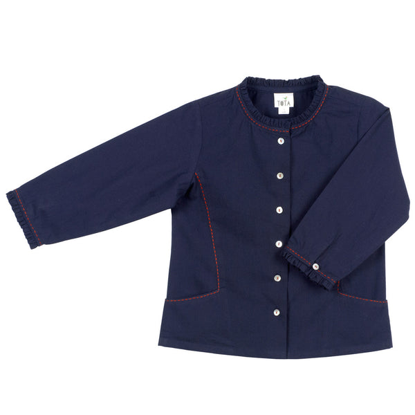 Girls' Ruffle Collar Blouse in Navy with Embroidered Side Pockets
