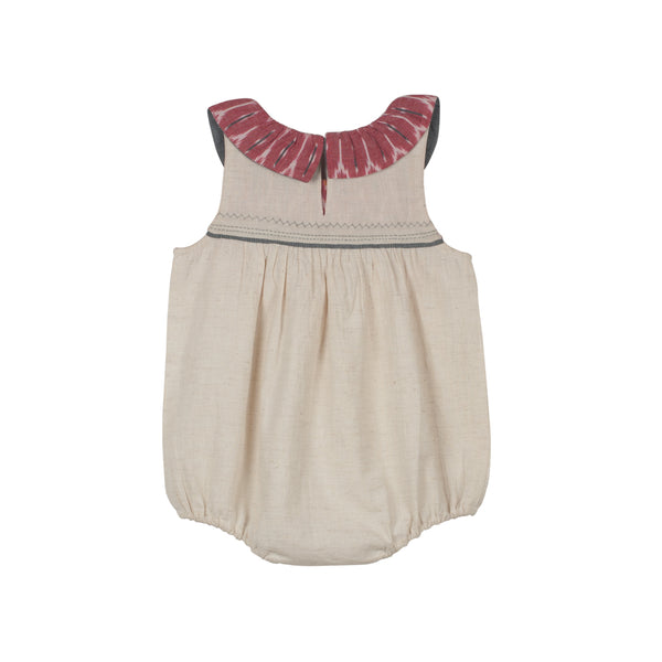 Ruffle Collar Girls' Ikat Romper with snap buttons