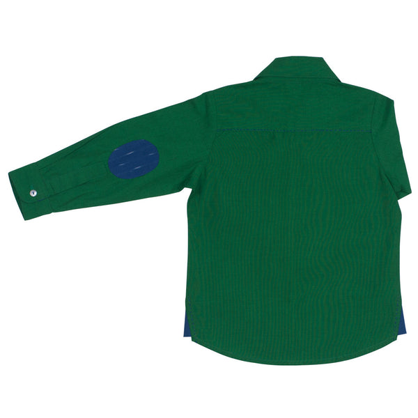 Emerald Boys' Shirt with Cobalt Ikat Elbow Patch