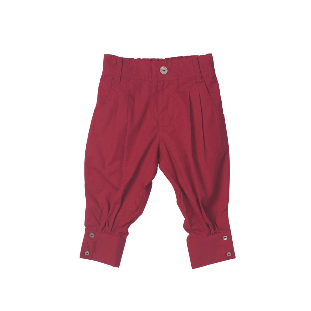 Unisex Capris in Red with Zipper front & elastic back