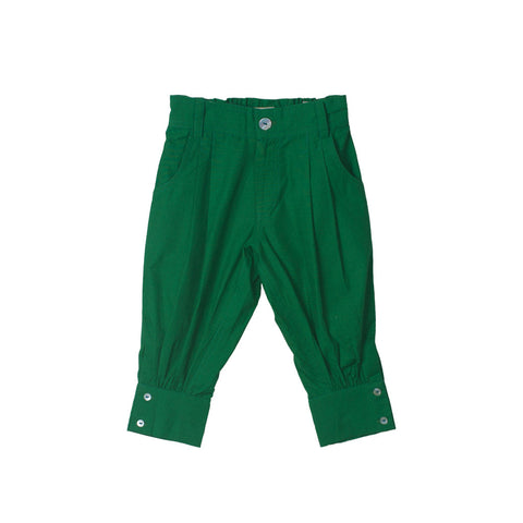 Unisex Capris in Emerald with Zipper front & elastic back