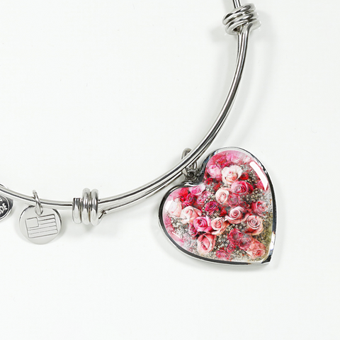 Heart Shaped Rose Bouquet Bangle Bracelet