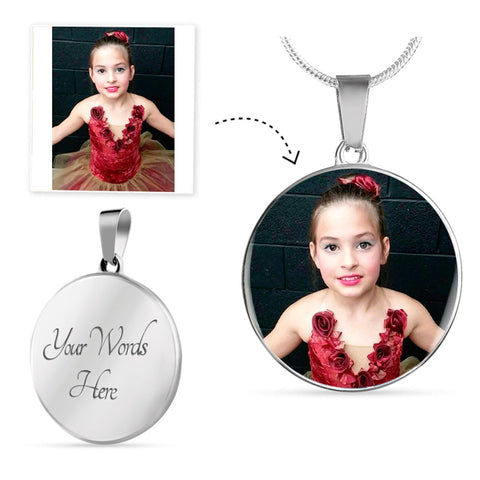 Personalized Round Pendant Photo Necklace With Your Own Picture