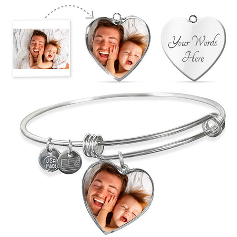Personalized Heart Bangle Photo Bracelet With Your Own Picture