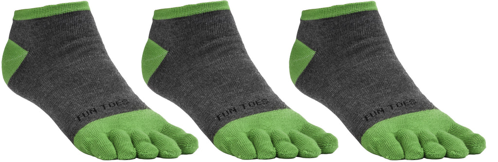 FUN TOES Men's Toe Socks Barefoot Running Socks Size 10-13 Shoe Size 6 - 12.5  Pack of 3 Pairs Grey/Green