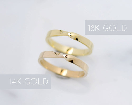 A side by side comparison: 14K vs 18K gold