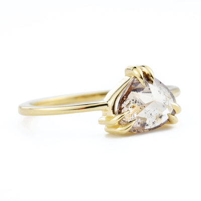 Cleo Double Claw Brown Pear Diamond Ring