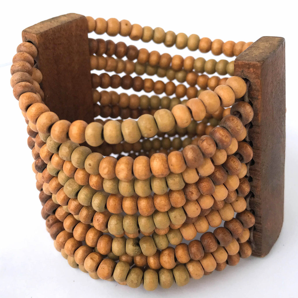 Light Brown Wooden Stretch Bracelet