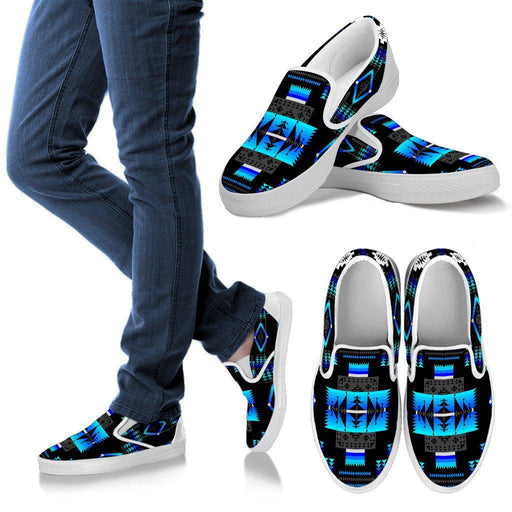 Seven Tribes Black and Blue Sopo Mens Slip ons White Sole Shoes