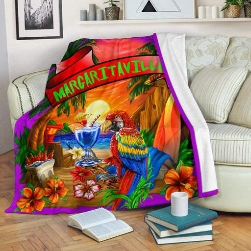 Margaritaville Purple Parrot Beach Premium Blanket
