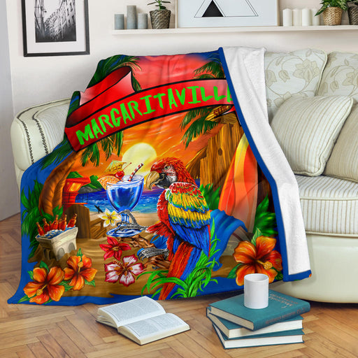 Margaritaville Royal Blue Parrot Beach Sunset Premium Blanket