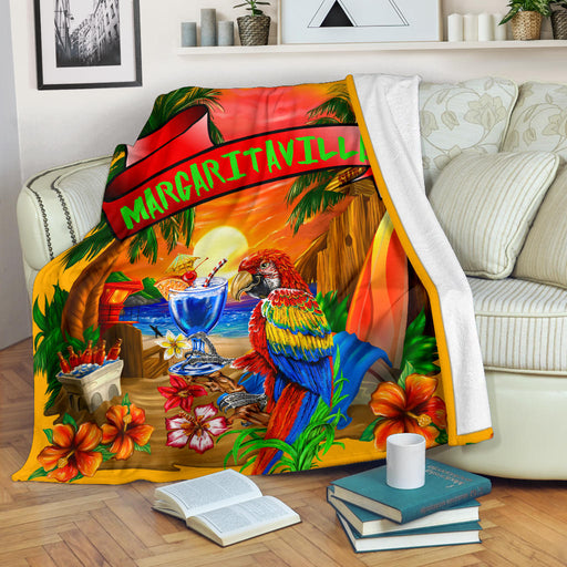 Margaritaville Orange Parrot Beach Premium Blanket